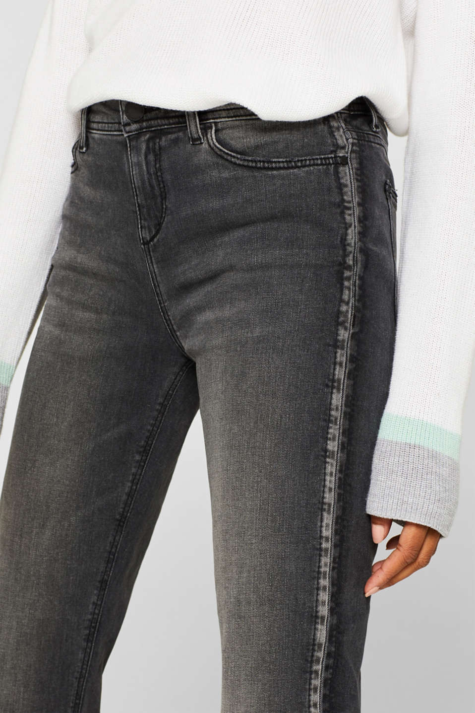 Stretch jeans with a garment wash, GREY DARK WASH, detail image number 2