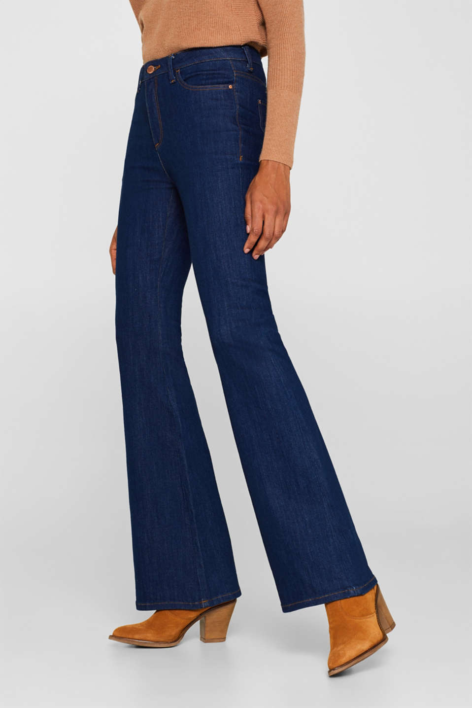 Bootcut stretch jeans, BLUE MEDIUM WASH, detail image number 7