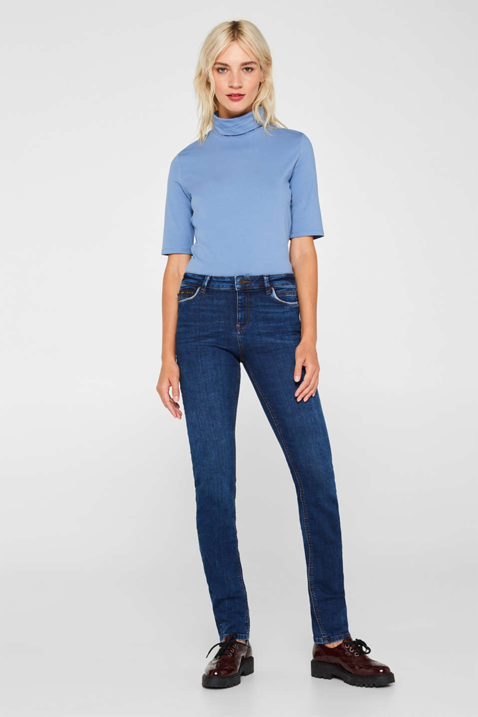 Stretch jeans containing organic cotton, BLUE DARK WASH, detail image number 0
