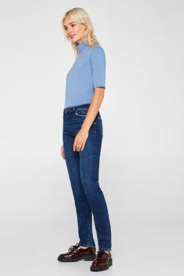 Stretch jeans containing organic cotton, BLUE DARK WASH, detail