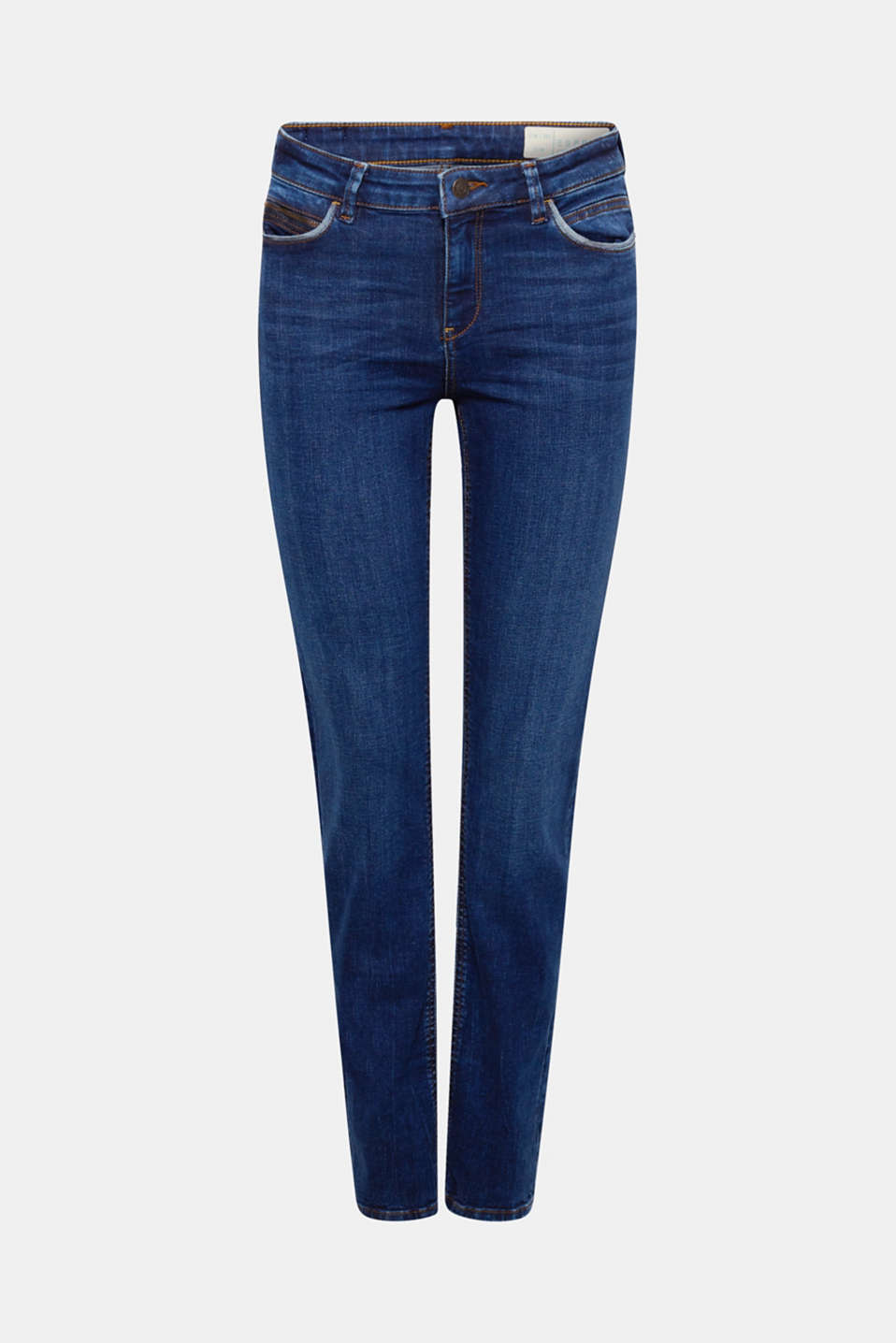 Stretch jeans containing organic cotton, BLUE DARK WASH, detail image number 7