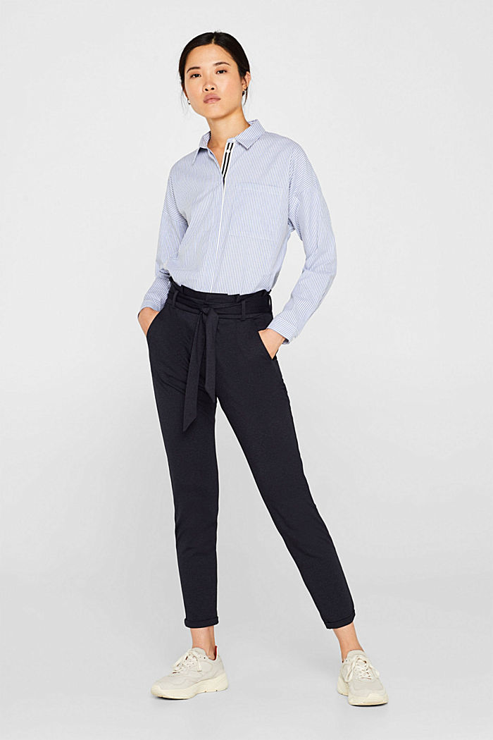 Paper-bag trousers made of stretch jersey, NAVY, detail image number 0