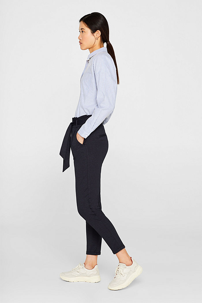 Paper-bag trousers made of stretch jersey, NAVY, detail image number 1