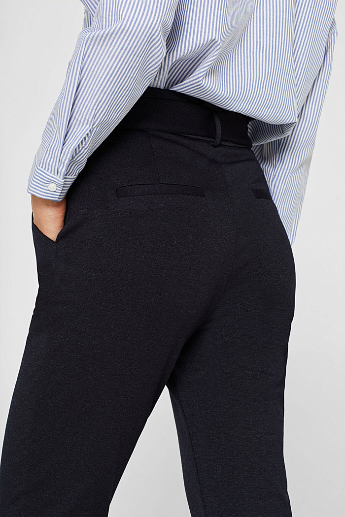 Paper-bag trousers made of stretch jersey, NAVY, detail image number 2