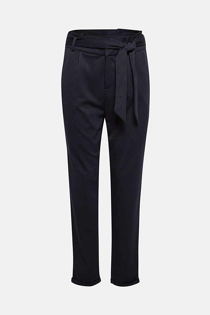 Paper-bag trousers made of stretch jersey, NAVY, detail image number 6