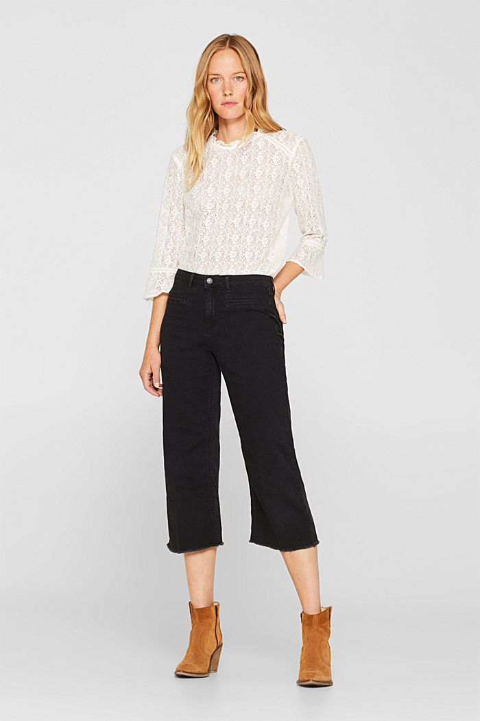 Jean culottes with an open hem
