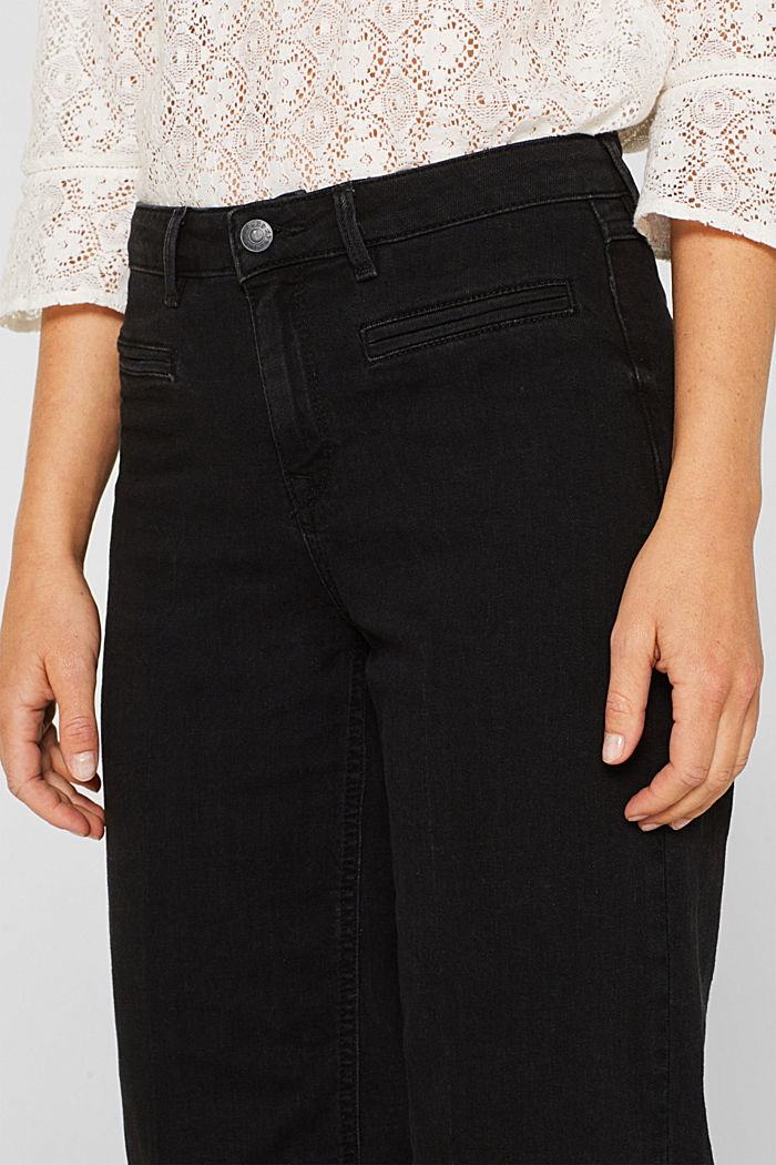 Jeans-Culotte mit offenem Saum, BLACK DARK WASHED, detail image number 2