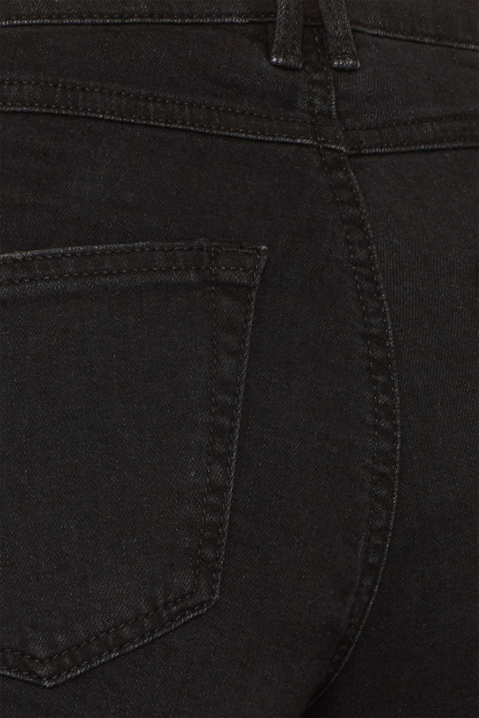 Jean culottes with an open hem, BLACK DARK WASH, detail image number 4