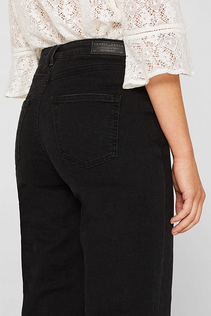 Jeans-Culotte mit offenem Saum, BLACK DARK WASHED, detail image number 5