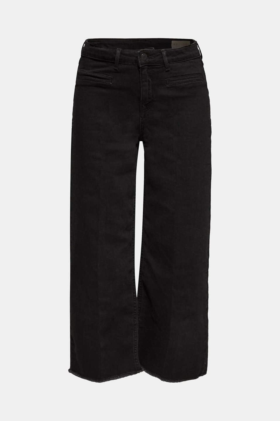 Jean culottes with an open hem, BLACK DARK WASH, detail image number 7