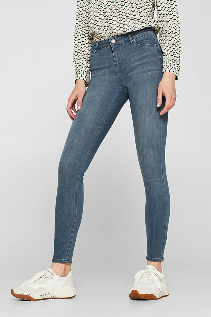 Stretch jeans with wrinkled effects, GREY MEDIUM WASHED, detail image number 6