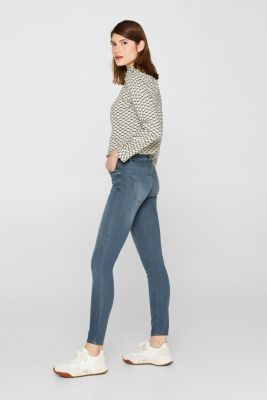 Stretch jeans with wrinkled effects, GREY MEDIUM WASH, detail