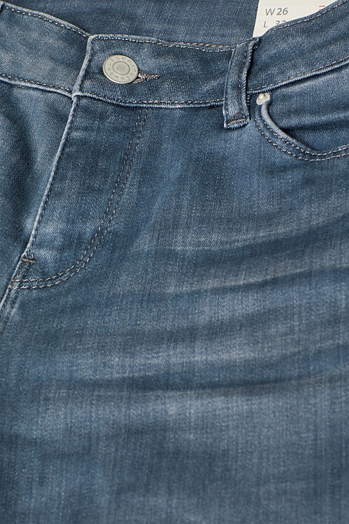 Stretch jeans with wrinkled effects, GREY MEDIUM WASHED, detail image number 4