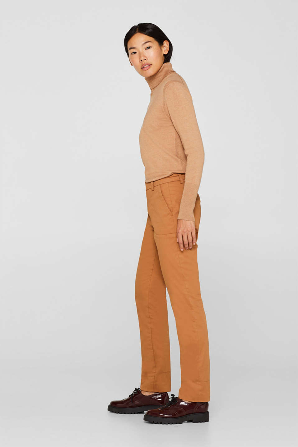 Cotton twill chinos, CAMEL, detail image number 1