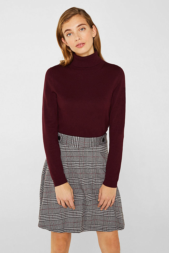 Jersey skirt with a Prince of Wales check pattern, GARNET RED, detail image number 0