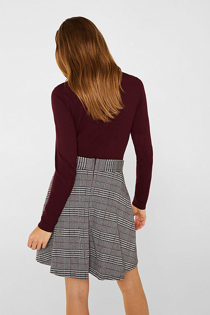 Jersey skirt with a Prince of Wales check pattern, GARNET RED, detail image number 3