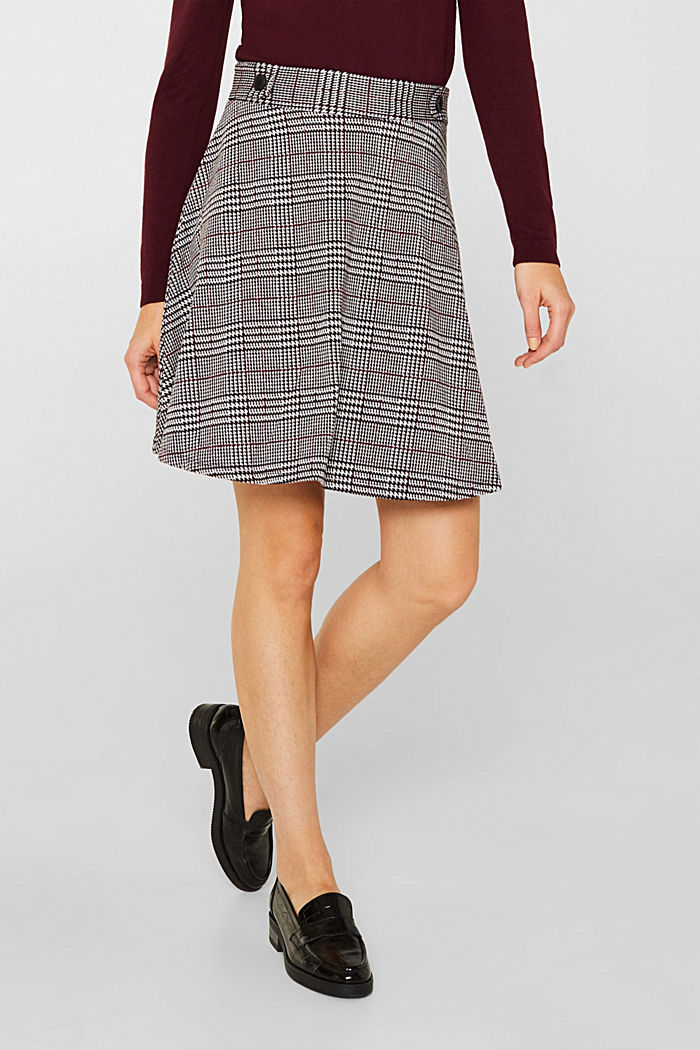 Jersey skirt with a Prince of Wales check pattern, GARNET RED, detail image number 6