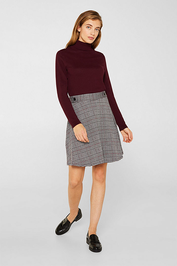 Jersey skirt with a Prince of Wales check pattern, GARNET RED, detail image number 1