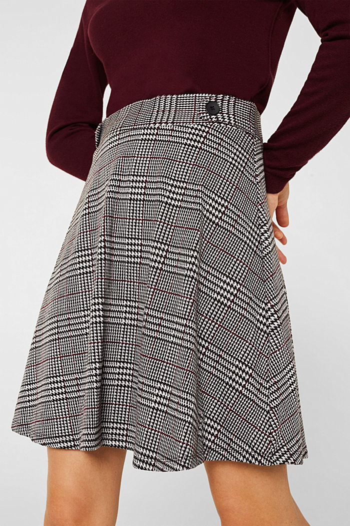 Jersey skirt with a Prince of Wales check pattern, GARNET RED, detail image number 2