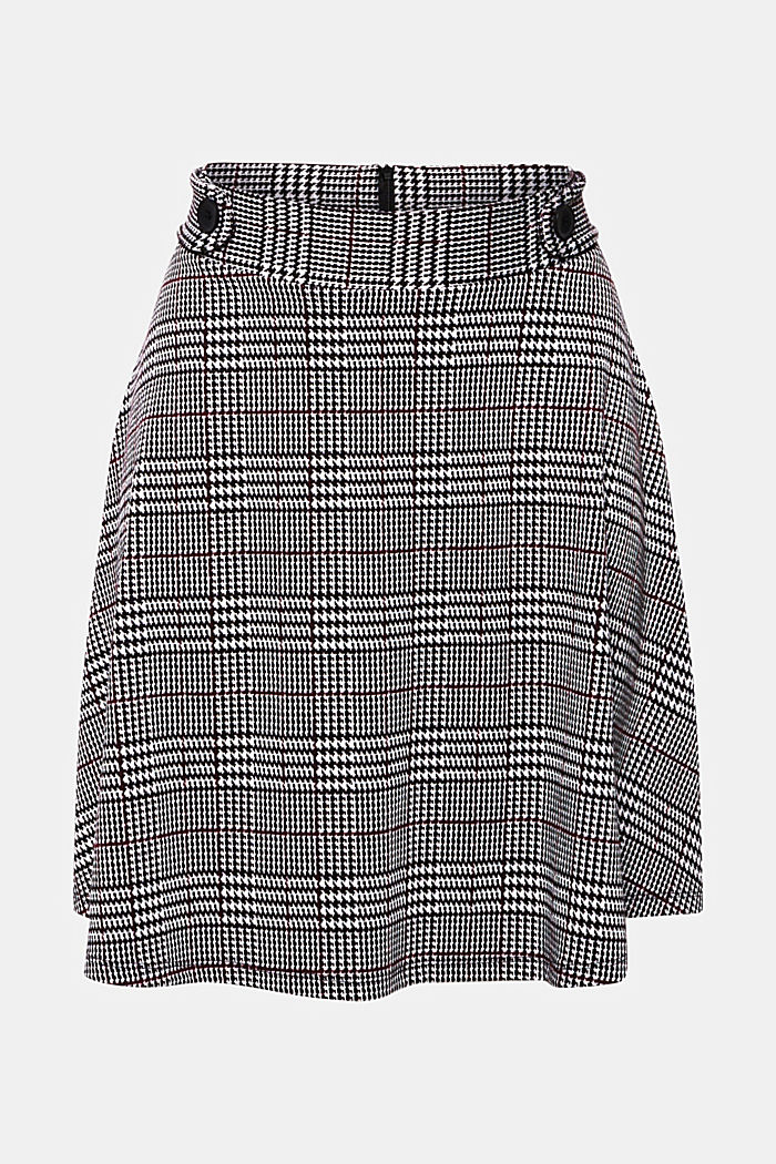 Jersey skirt with a Prince of Wales check pattern, GARNET RED, detail image number 7
