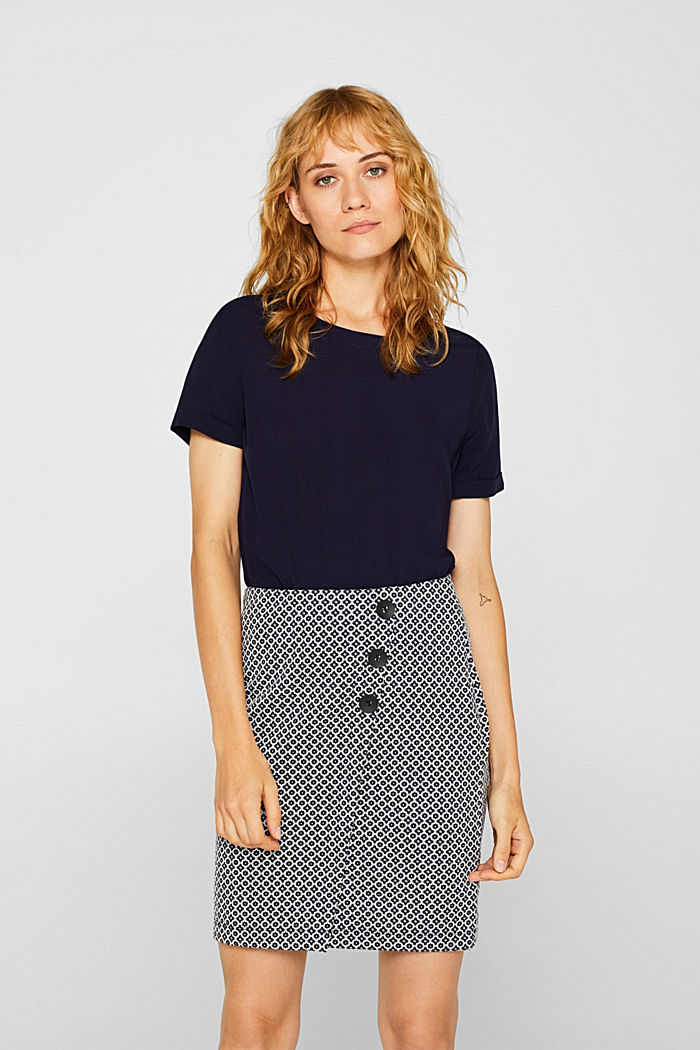 Jersey skirt with a jacquard pattern, NAVY, detail image number 0