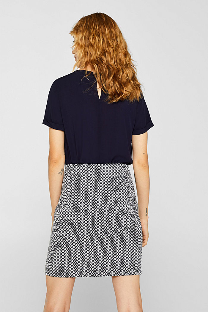 Jersey skirt with a jacquard pattern, NAVY, detail image number 3