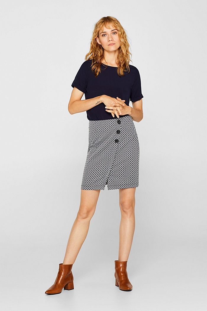 Jersey skirt with a jacquard pattern, NAVY, detail image number 5