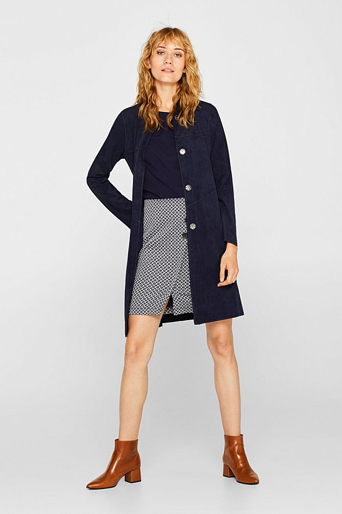Jersey skirt with a jacquard pattern, NAVY, detail image number 1