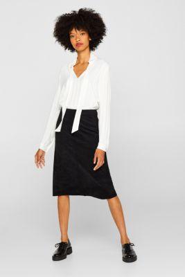 Midi skirt in elasticated faux suede, BLACK, detail