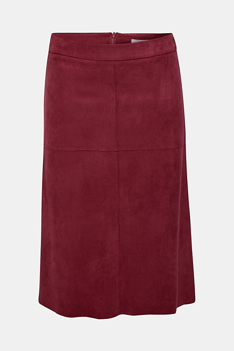 Midi skirt in elasticated faux suede