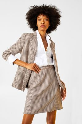 Stretch skirt with houndstooth check, CAMEL, detail