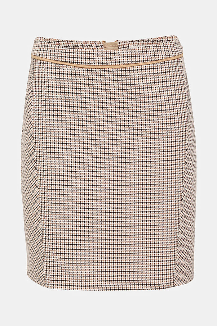 Stretch skirt with houndstooth check