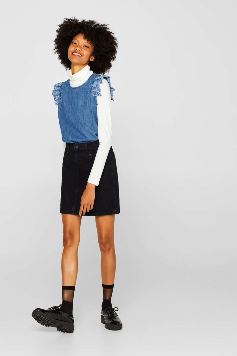 Skirts denim, BLACK DARK WASH, detail image number 6