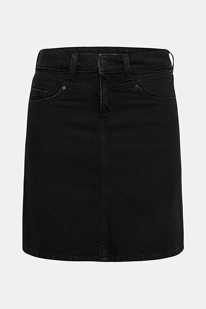 Flared denim skirt, 100% cotton, BLACK DARK WASHED, detail image number 0