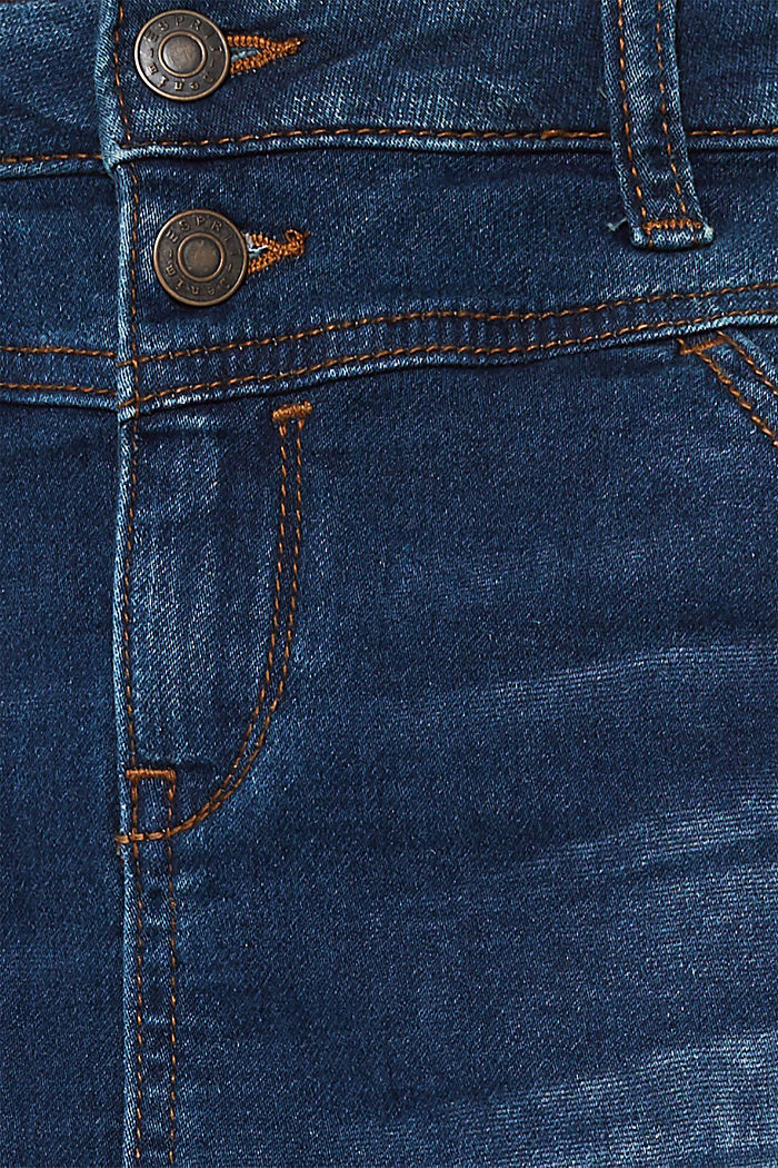 Super stretch jeans with two buttons, BLUE DARK WASHED, detail image number 4