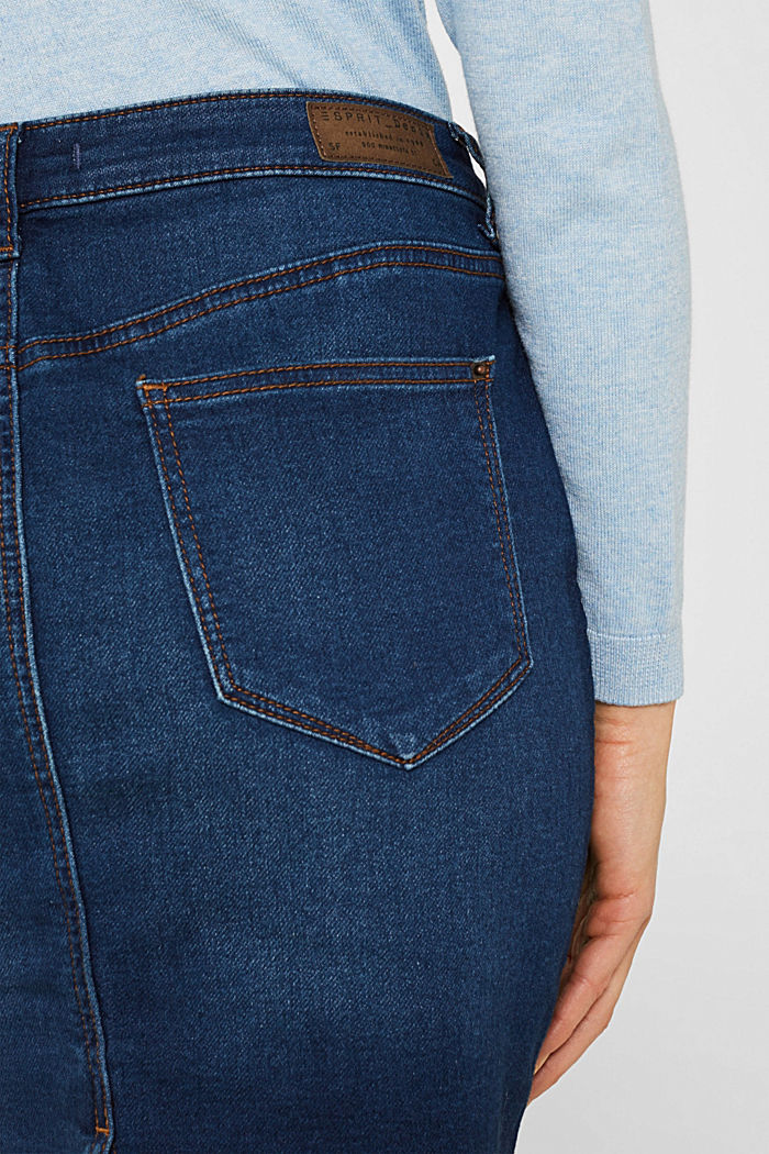 Super stretch jeans with two buttons, BLUE DARK WASHED, detail image number 5