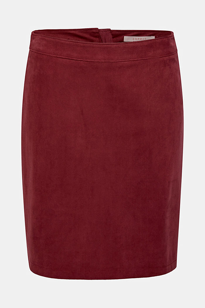 Skirt in imitation suede, BORDEAUX RED, detail image number 0
