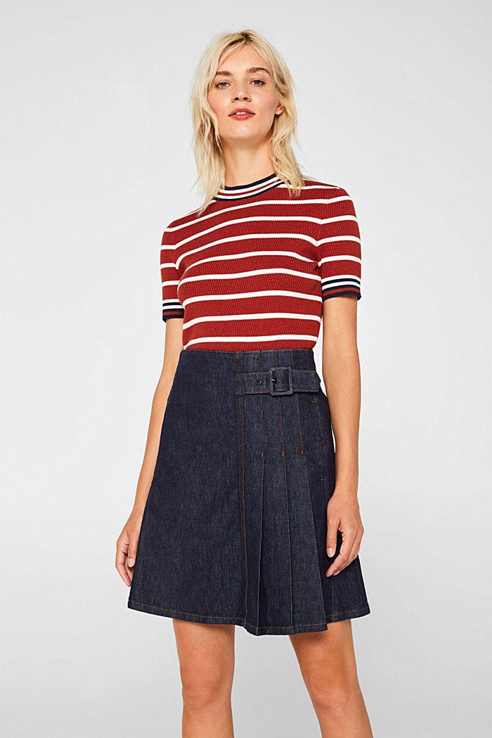 Stretch denim skirt with pleats