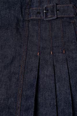 Stretch denim skirt with pleats, BLUE RINSE, detail