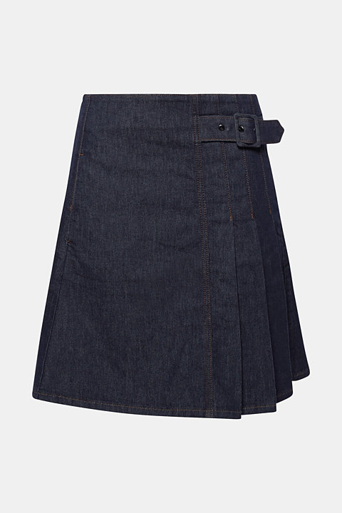 Stretch denim skirt with pleats