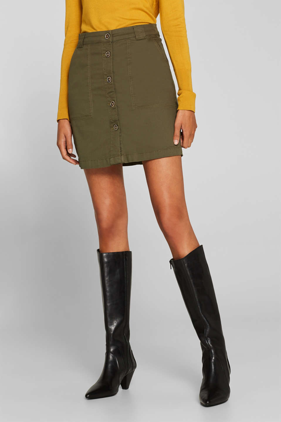Stretch cotton skirt with a button placket, KHAKI GREEN, detail image number 5