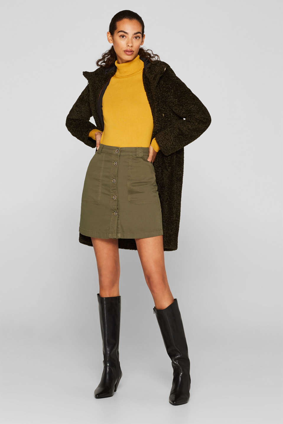 Stretch cotton skirt with a button placket, KHAKI GREEN, detail image number 1