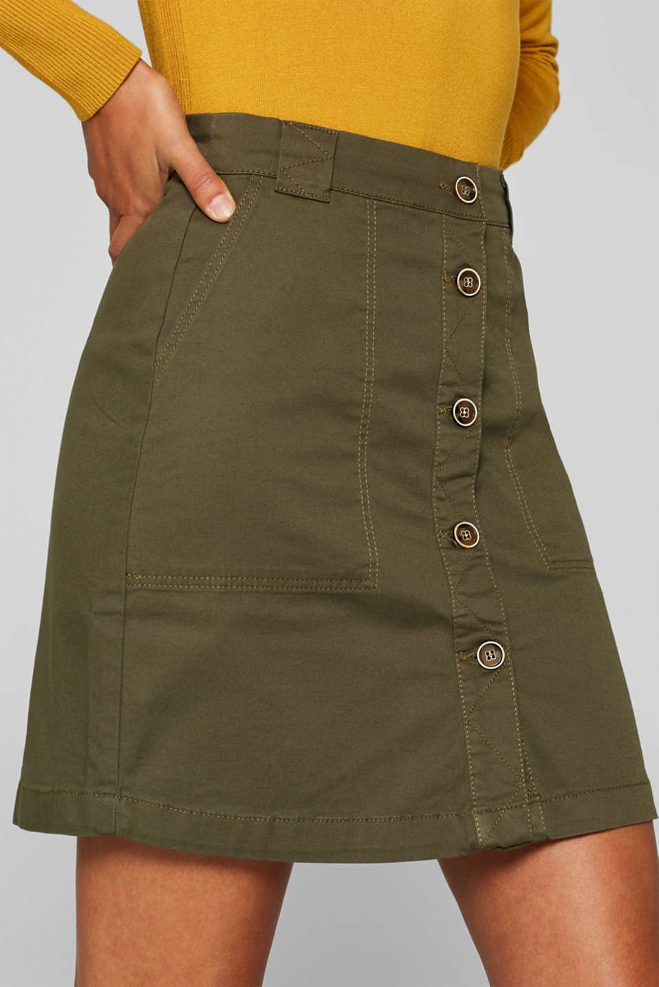 Stretch cotton skirt with a button placket, KHAKI GREEN, detail image number 2