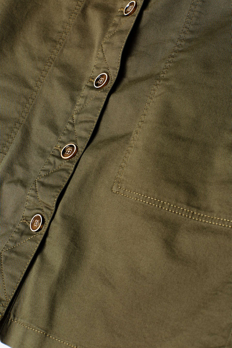 Stretch cotton skirt with a button placket, KHAKI GREEN, detail image number 4