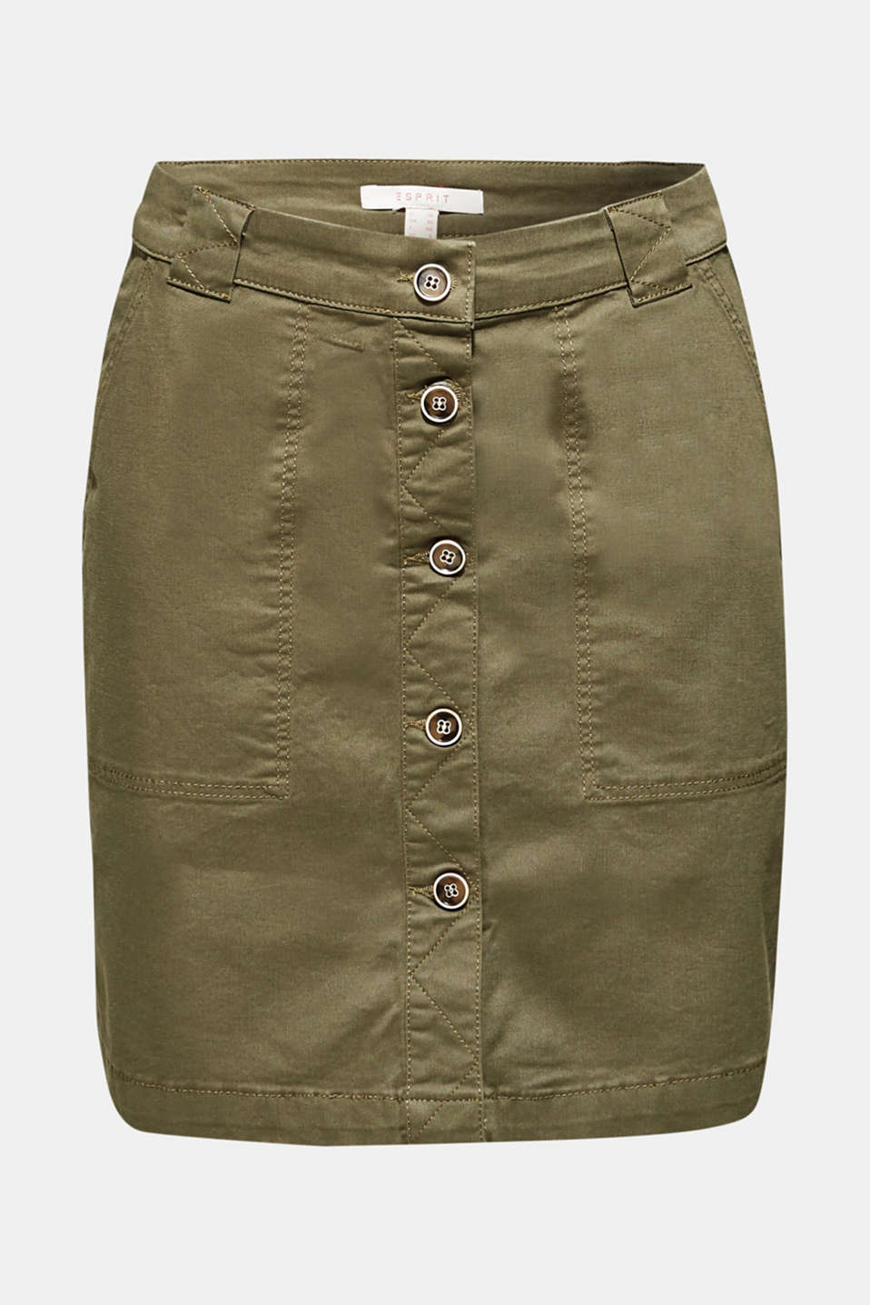 Stretch cotton skirt with a button placket, KHAKI GREEN, detail image number 6