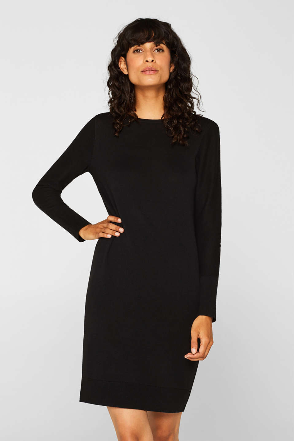 Fine knit dress with organic cotton, BLACK, detail image number 0
