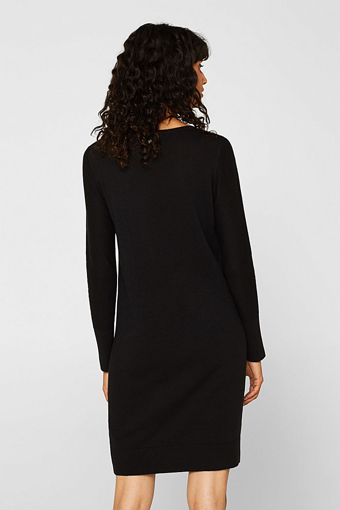 Fine knit dress with organic cotton, BLACK, detail image number 2