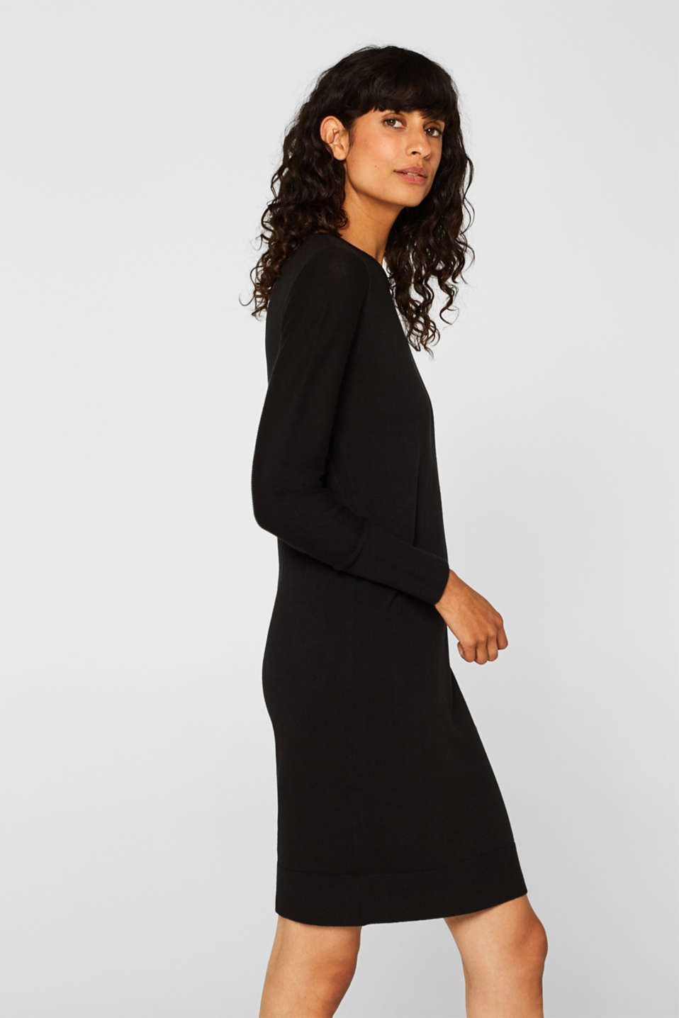 Fine knit dress with organic cotton, BLACK, detail image number 3