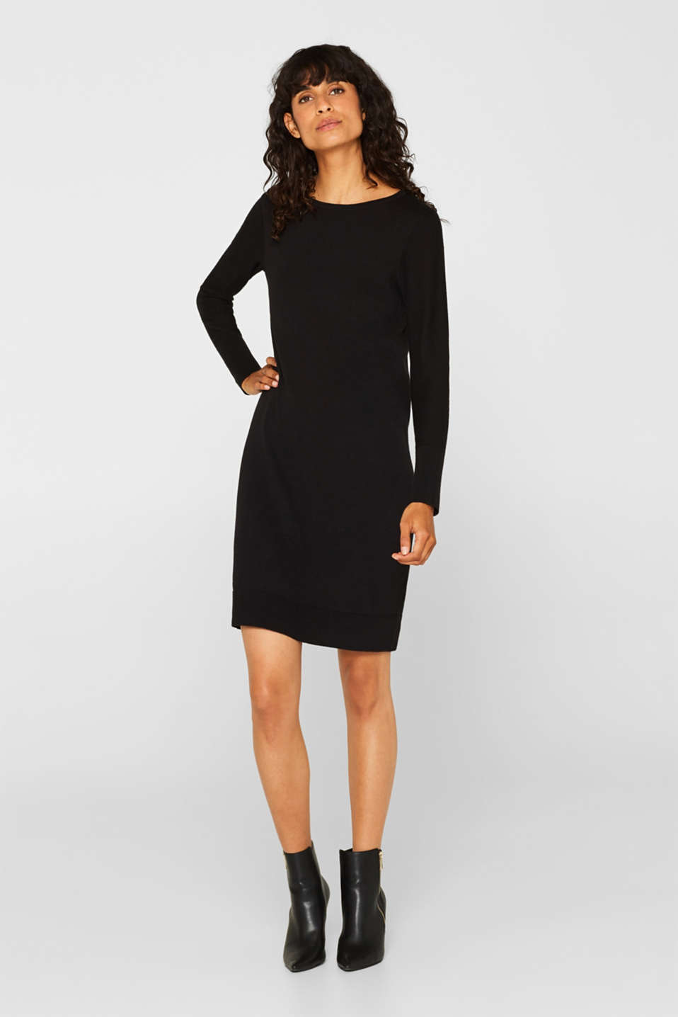 Fine knit dress with organic cotton, BLACK, detail image number 1