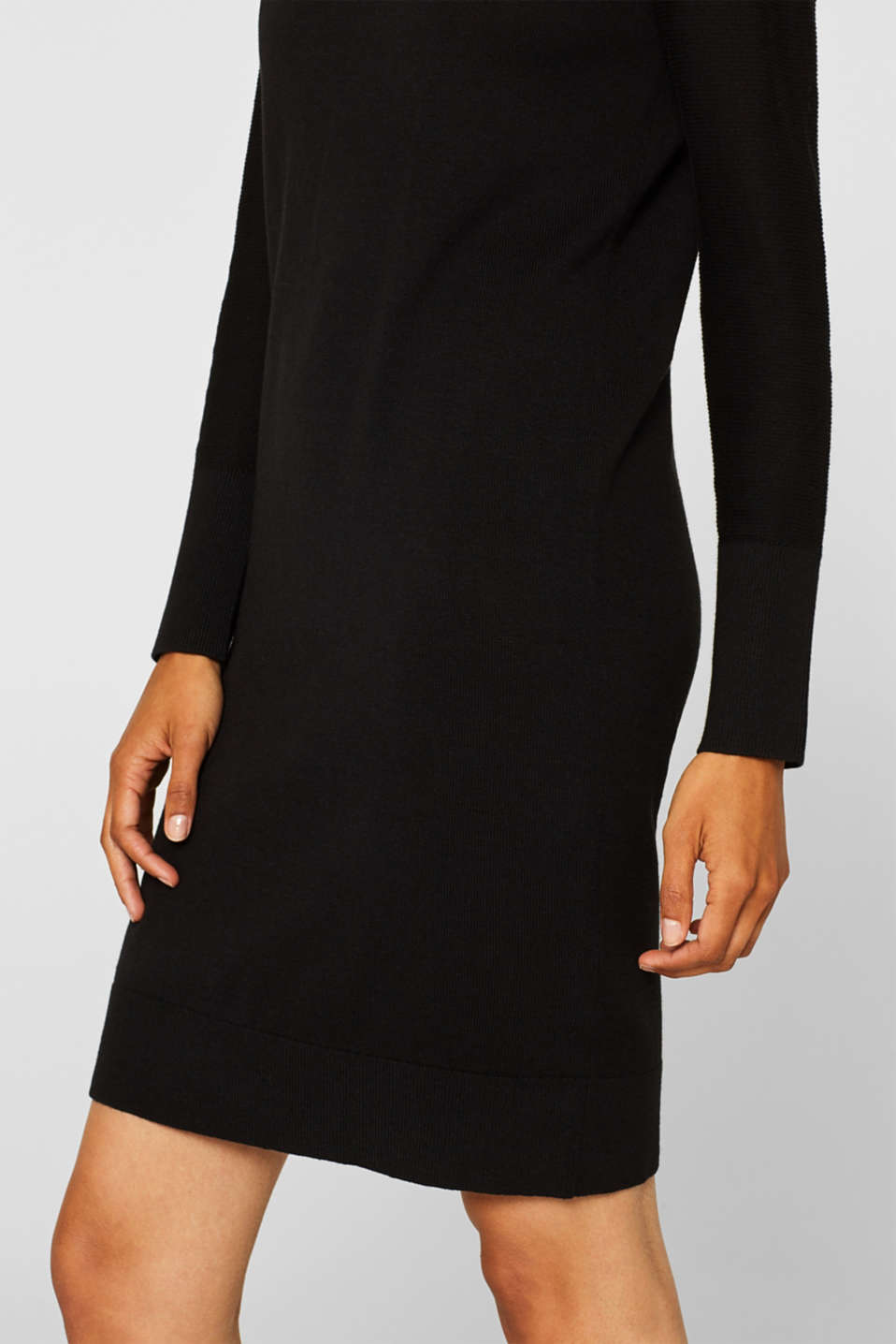 Fine knit dress with organic cotton, BLACK, detail image number 5